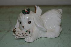 Vintage NAPCO Porcelain Christmas Angel Dog Figurine..CUTE..