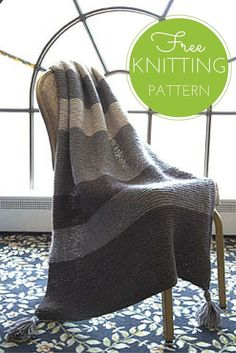 Striped Garter Throw Free Knitting Pattern Perfect for knitters of all skill levels, this easy to knit afghan is knitted entirely in garter stitch. The beauty is in the simple stripes. Perfect for TV knitting!what three colors will you choose? Knitted Throw Patterns, Easy Knitting Patterns, Knitted Blankets, Loom Knitting, Free Knitting, Knitting Projects, Knitting Ideas, Easy Knit Blanket