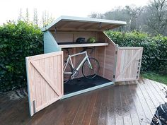 Great idea, a bike shed at the top of our driveway to ge the bikes out of the garage.
