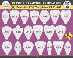 40 PDF Paper Flower Templates 40 printable PDF templates
