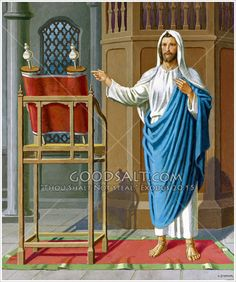 """Jesus in the Synagogue. """"They listened to me, and waited, and kept silence for my counsel. After I spoke they did not speak again, and my word dropped upon them like dew """" Job 29; 21-22"""