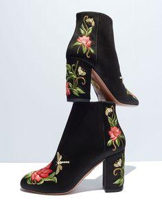 Aquazzura Lotus Satin Floral-Embroidered Bootie, Black