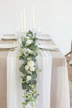 Wedding Table Settings, Wedding Table Centerpieces, Diy Wedding Decorations, Wedding Ideas, Wedding Table Garland, Diy Wedding Table Numbers, Wedding Table Arrangements, Wedding Garlands, Branch Centerpieces