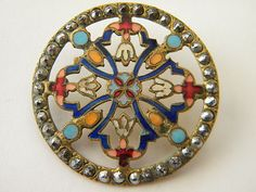 Antique Enamel Metal Button Brass Victorian Steel Medium Cloisonne Champleve | eBay