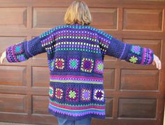 Granny Square coat  Granny Square cardigan  Crochet jacket