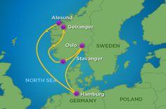 Hamburg, Germany Oslo, Norway Stavanger, Norway Geiranger, Norway Alesund, Norway Hamburg, Germany