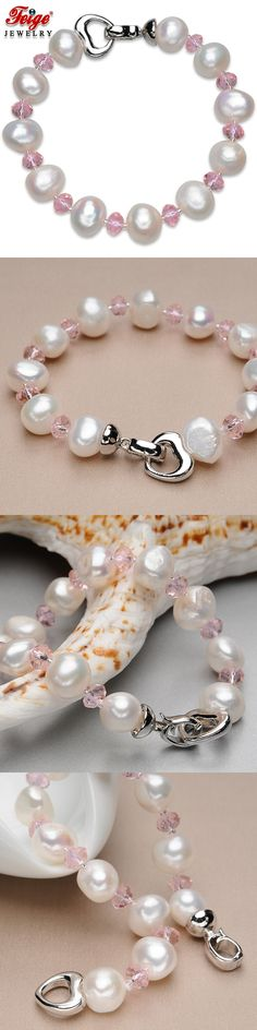 FEIGE Trendy style 10-11MM White Natural Freshwater Pearl Jewelry Bead Bracelet For Women Pink Crystal Pulsera De Las Mujeres