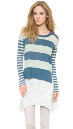 Mixed Stripe Slouchy Sweater, Tess Giberson only at http://tllg.net/wWDe!  Price: $159.00  An effortless linen Tess Giberson pullover with a ribbed, uneven hem. Open shoulder seams lend a deconstructed element. Crew neckline. Long sleeves and rolled-edge cuffs. Semi-sheer.  Fabric: Slubbed fine knit. 100% linen. Hand wash or dry clean. Imported, China.  MEASUREMENTS Length: 21in / 53.5cm, from front shoulder   www.fsession.com