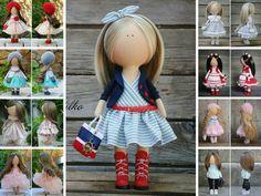 Decor doll red blue blonde Handmade Home doll Art doll Gift doll Soft doll Girl doll Tilda unique magic doll by Master Margarita Hilko
