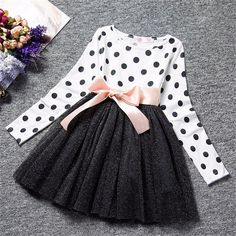 Ai Meng Baby Winter Dress For Girl Long Sleeve Bow Princess Girls School Dresses Polka Dot Toddler Girls Clothes Baby Clothing Dresses Kids Girl, Tutus For Girls, Toddler Girl Outfits, Kids Outfits, Toddler Girls, Baby Girls, Infant Girls, Summer Outfits, Baby Boy
