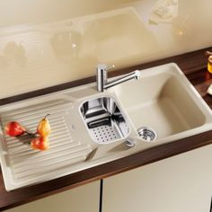 An essential addition to any kitchen, this champagne classic sink & drainer from Blanco's range is made from sturdy composite. It has bowls, a reversible drainer and 1 tap hole, ready for you to add the taps of your choice. Composite Sinks, Composition, Champagne, Kitchen, Home Decor, Image, Products, Sinks, White People