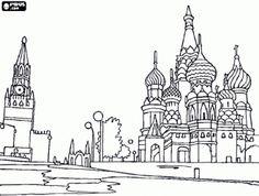 раскраска Красная площадь в Москве с величественных зданий, на Кремль и собор Василия Блаженного