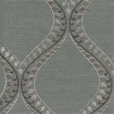 Society Lake Smoke Grey Embroidered Linen Drapery Fabric Swatch