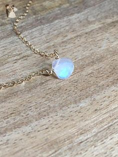 Dainty Rainbow Moonstone Necklace 14k Gold Filled or Sterling Silver - Wedding nacklaces (*Amazon Partner-Link)