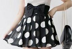 Image of Pleated Polka Dot Skirt with High Waist Bow