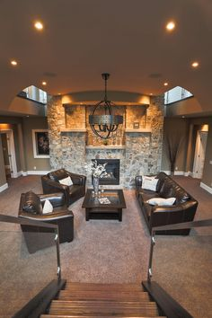 Moose Mountain Cottage Blend Thin Veneer stone from Montana Rockworks, Home built by Baywood Estate Homes #stone #thin veneer #design ideas #natural stone #interior #livingroom #mosaic #random #fireplace