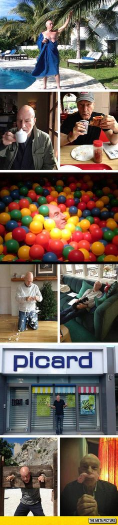 Just Patrick Stewart Being Awesome, Like He Only Knows - The ball pit image is my favorite.  I would LOVE to dive into a giant ball pit.  Really, I don't think I would come out for a very long time, especially if I could get a few vintage kids to play with me.