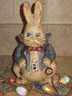 Paper Mache Pot Belly White Rabbit