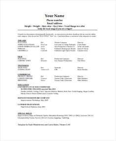 Superior Technical Theatre Resume Template , The General Format And Tips For The Theatre  Resume Template ,