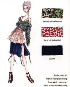 Fashion Design Drawing Fabric rendering in marker project examples Fashion Design Sketchbook, Fashion Design Portfolio, Fashion Sketches, Drawing Fashion, Dress Sketches, Fashion Fabric, Fashion Art, Fashion Trends, Portfolio Mode