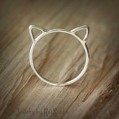 Cat ears ring  Crazy Cat Lady  cat ring  Sterling por Katstudio, $21.00