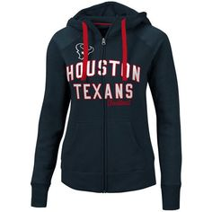 G-iii Sports Women's Houston Texans Conference Full-Zip Jacket ($70) ❤ liked on Polyvore featuring outerwear, jackets, navy, full zip jacket, houston texans jacket, hooded jacket, g-iii jacket and navy jacket