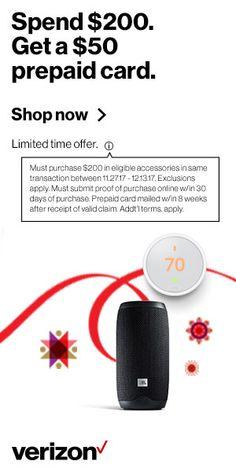Spend $200 at Verizon. Get a $50 prepaid card.