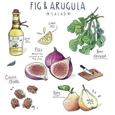 Very excited to try this Fig & Arugula salad!! Two of my favorite things... And pecans?!! #foodlover #salad #freshfinds #illustration #foodillustration #sketch #artistsoninstagram #designxiety