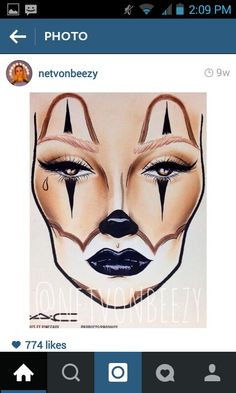 Chola clown girl face chart as tattoo idea