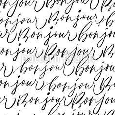 Bonjour Lettering Vector Pattern by Anastasiia Gevko at patterndesigns.com Vector Pattern, Pattern Design, Typography, Lettering, Your Design, How To Draw Hands, Patterns, Words, Bonjour