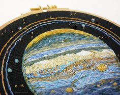 """sosuperawesome: """" Solar System and Planets Embroidery, by Ophelie Trichereau on Etsy See our 'embroidery' tag """" Hand Embroidery Projects, Embroidery Works, Modern Embroidery, Embroidery Patterns, Cross Stitching, Cross Stitch Embroidery, Swarovski, Dmc, Felt Flowers"""