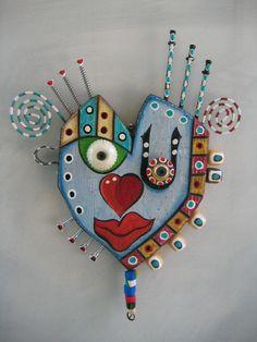 Art Heart 5, Original Found Object Sculpture, Wall Art, by Fig Jam Studio, via Etsy.