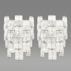 Venini Pair of Textured Glass and Brass Sconces Venini Italy c 1960s