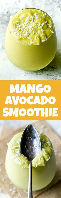 This super creamy Mango Avocado Smoothie is packed with protein, healthy fats, vitamins and antioxidants. Gluten-free and easily made vegan, it makes a healthy and delicious breakfast or snack | runningwithspoons.com
