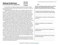 A language arts reading passage providing suggestions for making predictions. Cross-Curricular Focus: Language Arts.