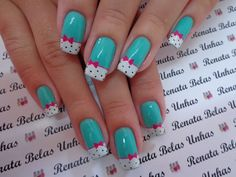 Unhas decoradas com esmalte verde maravilhosas baking in 2019 ногти, маникю Nail Art Printer, Mickey Nails, New Nail Art, Nail Art Hacks, Fabulous Nails, Nail Art Galleries, Cookies Et Biscuits, Trendy Nails, Manicure And Pedicure