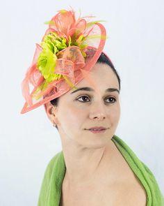 Bright coral salmon fascinator hat neon green flowers IRIT 2 981463b976d
