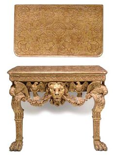 AN IRISH GEORGE II GILT GESSO AND GILTWOOD CONSOLE TABLE CIRCA 1750 The  Moulded Rectangular