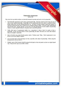 Free Printable Partnership Agreement Legal Forms