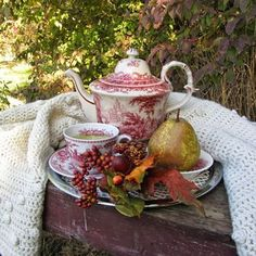 Autumn tea From: The French Inspired Room, please visit Autumn Tea, Cuppa Tea, Tea Art, My Cup Of Tea, Tea Service, Chocolate Pots, High Tea, Afternoon Tea, Tea Time