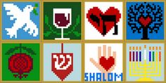 #Jewish squares, cross-stitch, crochet, knitting