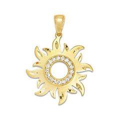 Sun Pendant with Diamonds in 14K Yellow Gold - 24mm