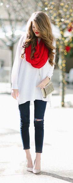 #winter #fashion / red scarf