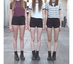 High Waisted Shorts. Striped Crop Tops. Doc Martins.