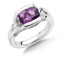 Colore S/S Ring W/ Rectangular Amethyst Center Stone Style# LVR453-AM