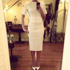 White hues. Pleated crop top & high waisted skirt