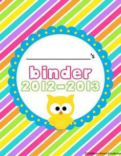 EDITABLE owl themed binder covers and forms!