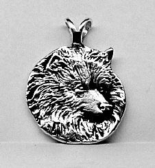 LARGE KEESHOND DOG Pendant Sterling Silver Free by oldtrekkie, $75.00