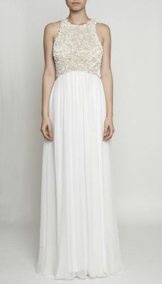 TAHLIA GOWN - Embellished bodice wedding dress with high neckline and flowing chiffon skirt by Rachel Gilbert $950