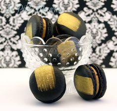 Black & Gold Macarons - https://www.facebook.com/au.lepetitmacaron